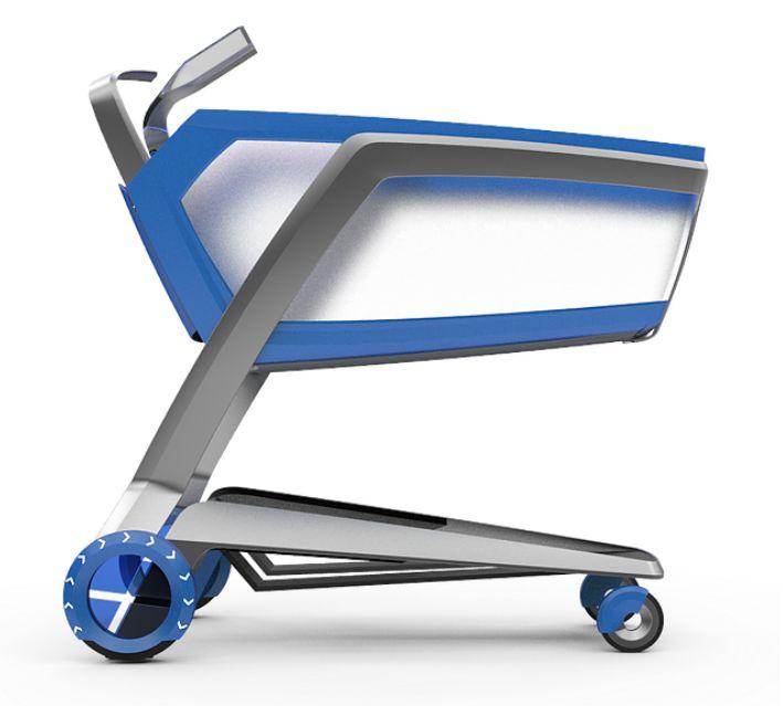 Blau-silberner Einkaufswagen des Unternehmens Tracxpoint